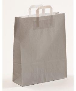 Papiertragetaschen mit Flachhenkel grau 32 x 12 x 40 cm, 150 Stück