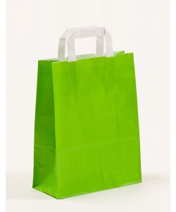 Papiertragetaschen mit Flachhenkel grün 22 x 10 x 28 cm, 050 Stück