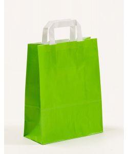 Papiertragetaschen mit Flachhenkel grün 22 x 10 x 28 cm, 200 Stück