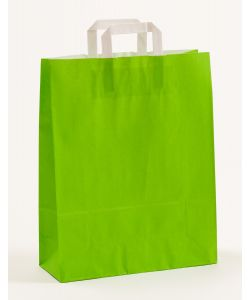 Papiertragetaschen mit Flachhenkel grün 32 x 12 x 40 cm, 200 Stück