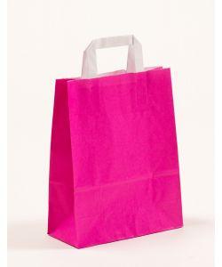 Papiertragetaschen mit Flachhenkel pink 22 x 10 x 28 cm, 100 Stück