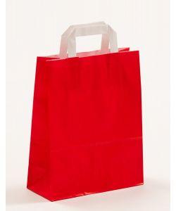 Papiertragetaschen mit Flachhenkel rot 22 x 10 x 28 cm, 200 Stück