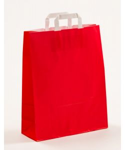 Papiertragetaschen mit Flachhenkel rot 32 x 12 x 40 cm, 050 Stück