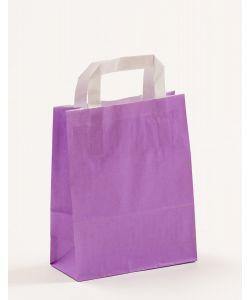 Papiertragetaschen mit Flachhenkel violett 18 x 8 x 22 cm, 100 Stück