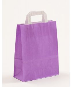 Papiertragetaschen mit Flachhenkel violett 22 x 10 x 28 cm, 100 Stück