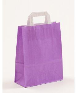 Papiertragetaschen mit Flachhenkel violett 22 x 10 x 28 cm, 200 Stück