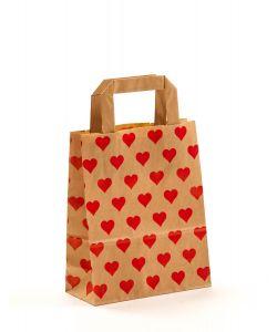 Papiertragetaschen mit Flachhenkel Herzen 18 x 8 x 22 cm, 100 Stück