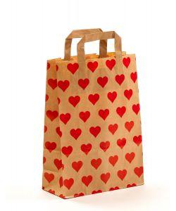 Papiertragetaschen mit Flachhenkel Herzen 22 x 10 x 31 cm, 100 Stück