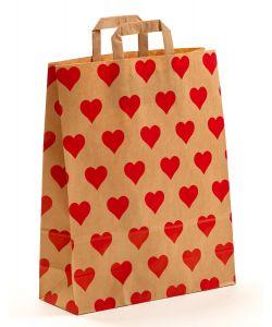 Papiertragetaschen mit Flachhenkel Herzen 32 x 12 x 40 cm, 100 Stück