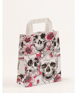 Papiertragetaschen mit Flachhenkel Skulls & Flowers 18 x 8 x 22 cm, 025 Stück