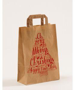 Papiertragetaschen mit Flachhenkel Merry Christmas 22 x 10 x 31 cm, 025 Stück
