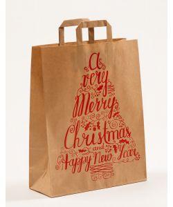 Papiertragetaschen mit Flachhenkel Merry Christmas 32 x 12 x 40 cm, 100 Stück