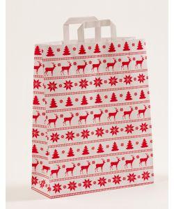 Papiertragetaschen mit Flachhenkel Norweger weiss 32 x 12 x 40 cm, 100 Stück