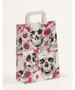 Papiertragetaschen mit Flachhenkel Skulls & Flowers 22 x 10 x 31 cm, 025 Stück