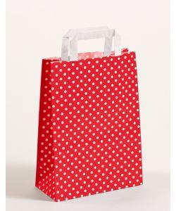 Papiertragetaschen mit Flachhenkel Punkte rot 22 x 10 x 31 cm, 025 Stück