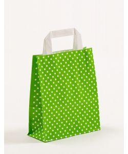 Papiertragetaschen mit Flachhenkel Punkte grün 18 x 8 x 22 cm, 100 Stück
