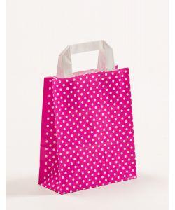 Papiertragetaschen mit Flachhenkel Punkte pink 18 x 8 x 22 cm, 100 Stück