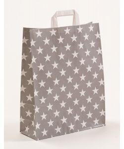 Papiertragetaschen mit Flachhenkel Sterne grau 32 x 12 x 40 cm, 100 Stück