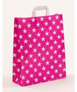 Papiertragetaschen mit Flachhenkel Sterne pink 32 x 12 x 40 cm, 100 Stück