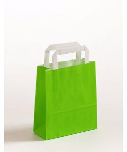 Papiertragetaschen mit Flachhenkel grün 18 x 8 x 22 cm, 100 Stück
