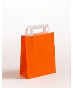 Papiertragetaschen mit Flachhenkel orange 18 x 8 x 22 cm, 050 Stück