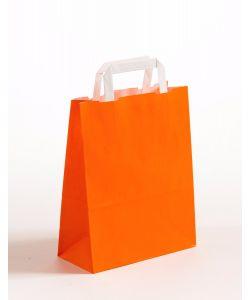 Papiertragetaschen mit Flachhenkel orange 22 x 10 x 28 cm, 100 Stück