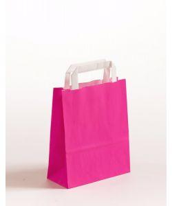 Papiertragetaschen mit Flachhenkel pink 18 x 8 x 22 cm, 100 Stück