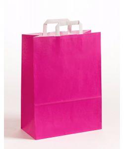 Papiertragetaschen mit Flachhenkel pink 32 x 12 x 40 cm, 200 Stück