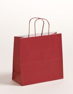 Papiertragetaschen mit gedrehter Papierkordel bordeaux 25 x 11 x 24 cm, 250 Stück