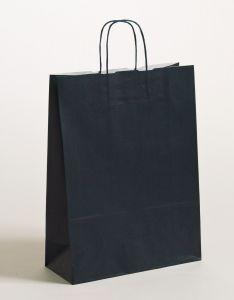 Papiertragetaschen mit gedrehter Papierkordel dunkelblau 32 x 13 x 42.5 cm, 250 Stück