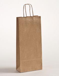 Flaschentaschen Papiertragetaschen mit gedrehter Papierkordel braun gerippt 18 x 8 x 39,5 cm, 300 Stück