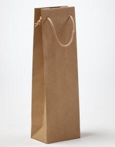 Flaschentaschen ECO 1er Papiertragetaschen mit Baumwollkordeln braun recycling 12 x 9 x 40 + 5 cm, 025 Stück