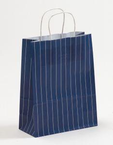 Papiertragetaschen mit gedrehter Papierkordel Nadelstreifen blau 22 x 10 x 28 cm, 200 Stück