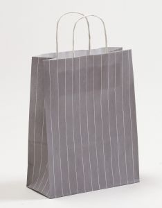 Papiertragetaschen mit gedrehter Papierkordel Nadelstreifen grau 22 x 10 x 28 cm, 200 Stück