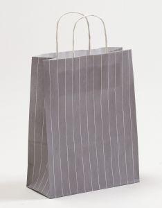 Papiertragetaschen mit gedrehter Papierkordel Nadelstreifen grau 22 x 10 x 28 cm, 025 Stück