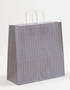 Papiertragetaschen mit gedrehter Papierkordel Nadelstreifen grau 35 x 14 x 35 cm, 200 Stück