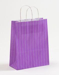 Papiertragetaschen mit gedrehter Papierkordel Nadelstreifen violett 22 x 10 x 28 cm, 200 Stück