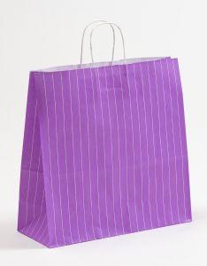 Papiertragetaschen mit gedrehter Papierkordel Nadelstreifen violett 35 x 14 x 35 cm, 200 Stück
