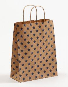 Papiertragetaschen mit gedrehter Papierkordel Sterne blau 22 x 10 x 28 cm, 100 Stück