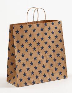 Papiertragetaschen mit gedrehter Papierkordel Sterne blau 35 x 14 x 35 cm, 150 Stück