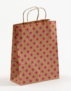 Papiertragetaschen mit gedrehter Papierkordel Sterne pink 22 x 10 x 28 cm, 200 Stück