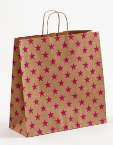 Papiertragetaschen mit gedrehter Papierkordel Sterne pink 35 x 14 x 35 cm, 200 Stück