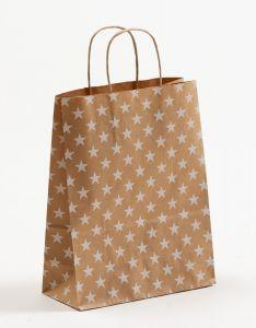 Papiertragetaschen mit gedrehter Papierkordel Sterne weiß 22 x 10 x 28 cm, 150 Stück