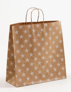 Papiertragetaschen mit gedrehter Papierkordel Sterne weiß 35 x 14 x 35 cm, 250 Stück