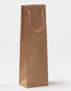 Flaschentaschen 1er Papiertragetaschen mit Baumwollkordeln braun gerippt 12 x 9 x 40 + 5 cm, 010 Stück