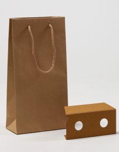 Flaschentaschen ECO 2er Papiertragetaschen mit Baumwollkordeln braun recycling 20 x 9 x 38 + 5 cm, 050 Stück