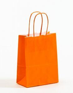 Papiertragetaschen mit gedrehter Papierkordel orange 15 x 8 x 20 cm, 025 Stück