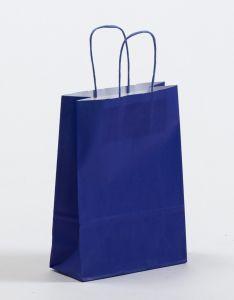 Papiertragetaschen mit gedrehter Papierkordel blau 18 x 8 x 25 cm, 050 Stück