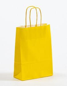 Papiertragetaschen mit gedrehter Papierkordel gelb 18 x 8 x 25 cm, 100 Stück