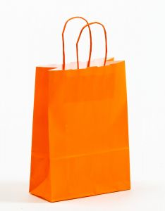 Papiertragetaschen mit gedrehter Papierkordel orange 18 x 8 x 25 cm, 300 Stück